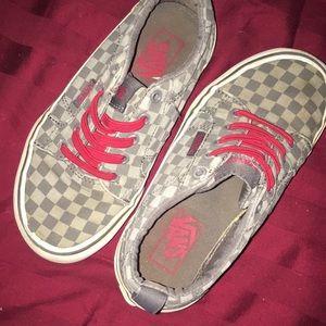 Size 12.5 boys gray checkered slip on vans
